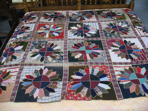 Antique Hand Stitched Modified Dresden Plate Quilt Top (No Back)