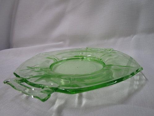 Vintage Green Vaseline Uranium Etched Glass Handled Small Serving Tidbit Tray