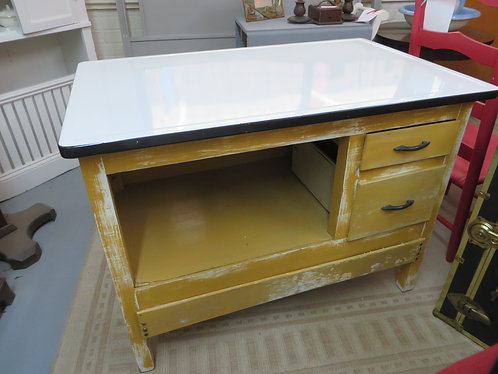 Vintage Distressed Mustard Kitchen Cabinet with White Porcelain Top