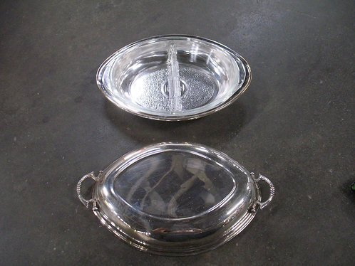 Vintage Glasbake Clear Divided Dish with Silverplate Handled Holder