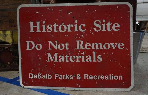 Vintage DeKalb Parks & Recreation Historic Site Metal Sign
