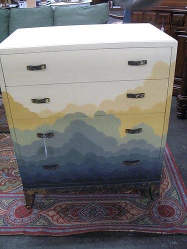 Custom Handpainted Clouds Four Drawer Dresser