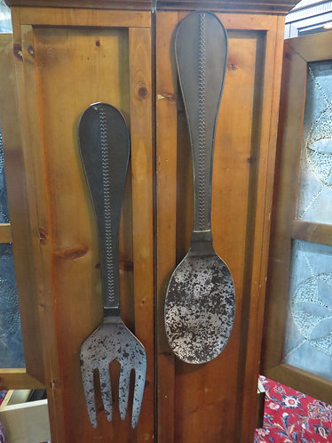 Distressed Metal Spoon and Fork Wall Art