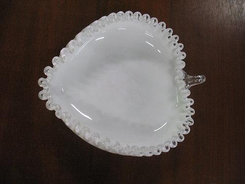 Vintage Fenton Silver Crest Art Glass Ruffled Edge Heart Bowl