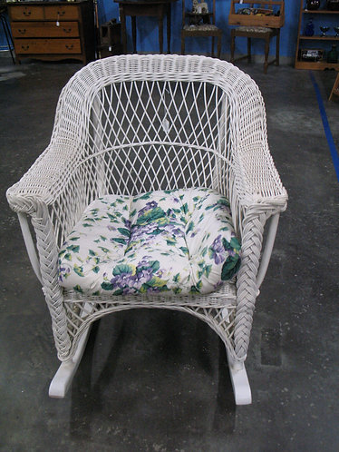 Vintage White Wicker Rocking Chair with Cushion