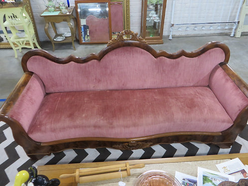 Antique Victorian Rose Upholstery Walnut Frame Sofa
