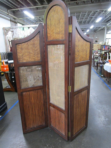 Modern 3 Panel Wood and Fabric Room Divider