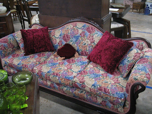 Vintage Duncan Phyfe Style Swan Arm Floral Upholstery Sofa