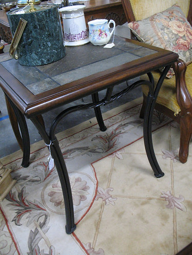 Modern Wood/Slate Top and Metal Side/End Tables Set of 2