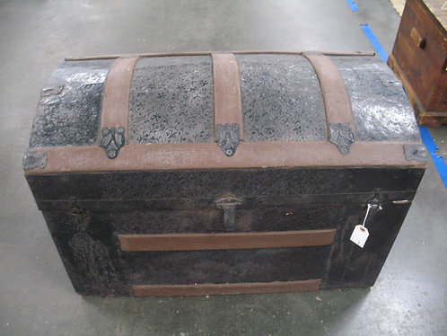Antique Dome Top Embossed Metal Trunk