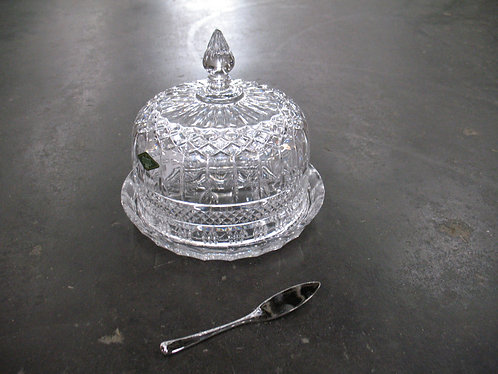 Shannon Crystal Brandon 24% Lead Crystal Cheese Dome with Silver Plated Cheese K