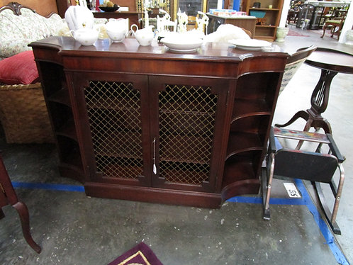 Vintage Mahogany Arch Top Wire Door Display Credenza Console Table