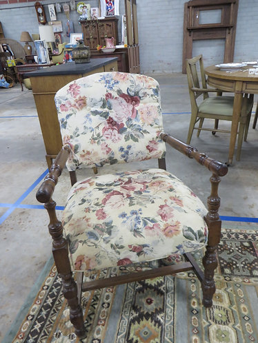 Vintage Accent Chair with Turned Wood Frame and Floral Upholstery