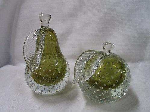 Alfredo Barbini Murano Glass Paper Weight Fruit Set of 2