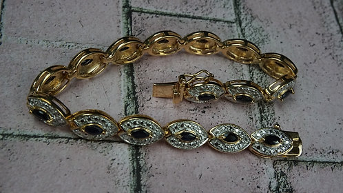 Bracelet, Sapphire, 16 Gold coated Sterling