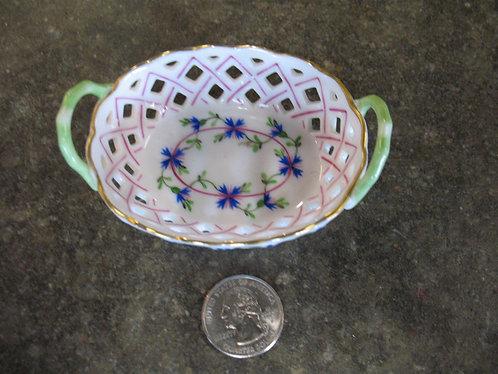 Vintage Herend Hungary Handpainted Blue Garland Pierced Small Trinket Basket