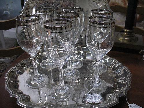 Platinum Trimmed Wine Glasses Set of 7