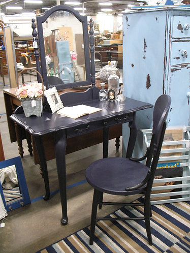 Chalk Painted Vanity Table, Chair and Mirror