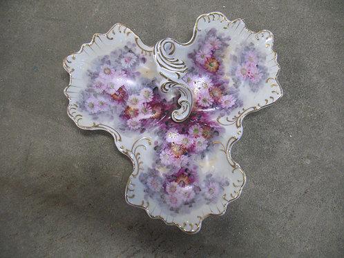 Antique Trefoil Floral Dish with Gold Trim