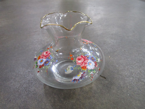 Vintage Silver City Glass Co. Clear Glass with Floral Small Vase