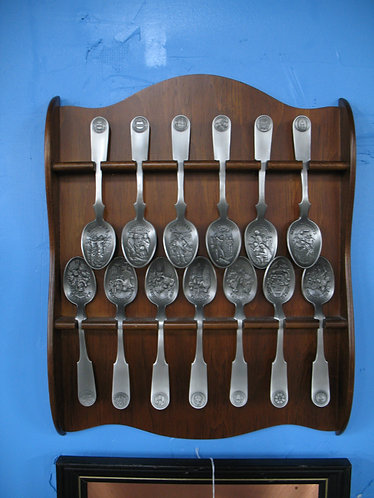 Vintage American Colonies Pewter Spoon Collection with Wooden Display Shelf