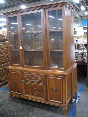 Vintage Bassett Furniture One Piece China Hutch Cabinet