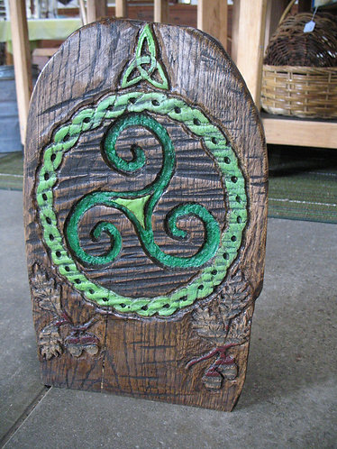 Hand Carved & Hand Painted Triskelion Plaque