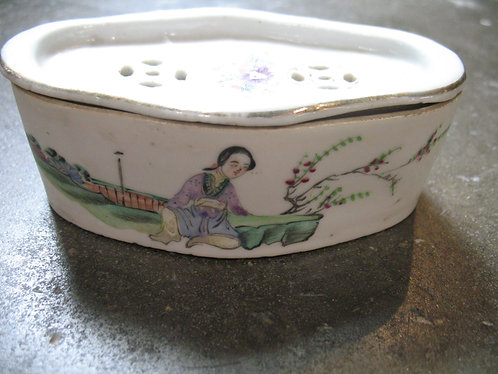 Antique Chinese Handcrafted Porcelain Cricket Box