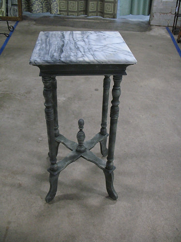 Vintage Painted & Glazed Marble Top Plant Stand