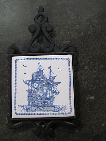 Vintage Enesco Japan Mayflower Cast Iron & Tile Trivet