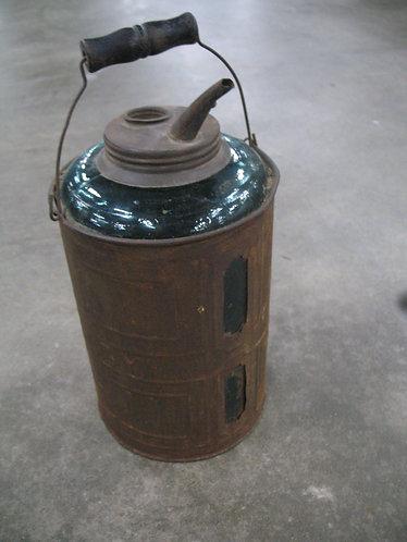 Vintage Dandy Teal Glass and Tin Sleeve Kerosene Filler Can