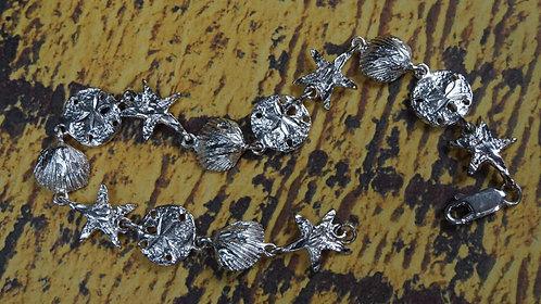 Bracelet, small Seashells and sand dollars, 8 Sterling