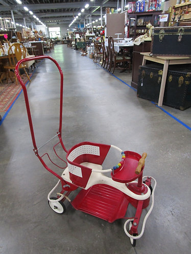 Retro Taylor Tot Red/Cream Metal Baby Walker and Stroller