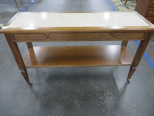 Vintage Mersman Sofa Table with Casters and Marble Top Insert