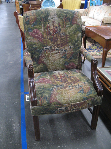 Vintage Colonial Style Hunt Club Upholstery Arm Chair