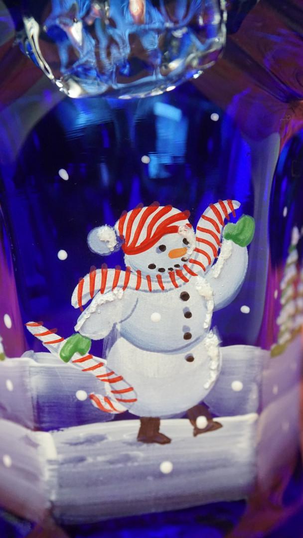Basket Fenton Snowman on Blue Handpainte