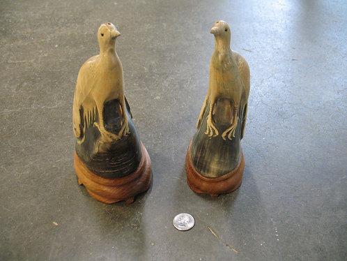 Vintage Carved Horn Bird Sculpture Pair