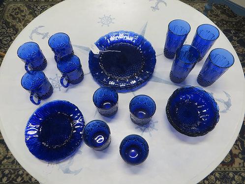 Vintage Avon Royal Cobalt Blue Pressed Glass Dinner Set for 4
