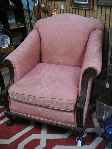 Vintage Carved Mahogany Arm Chair with Pink Upholstery
