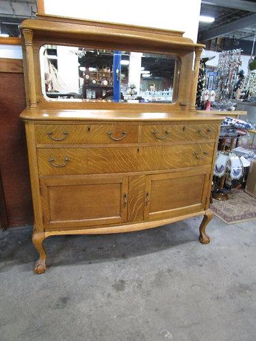 Antique Tiger Oak Ball & Claw Foot Mirrored Buffet Server