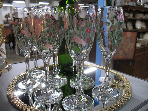 Handpainted Glass Champagne Flutes Set of 7