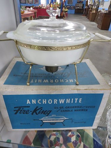 Vintage Fire King Casserole Dish with Candle Warmer Holder
