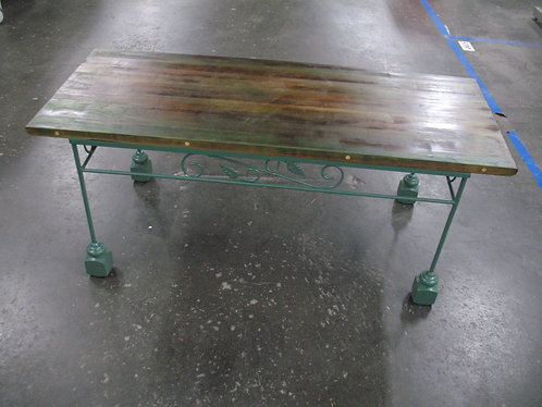 Vintage Iron Base Bench with Solid Wood Seat