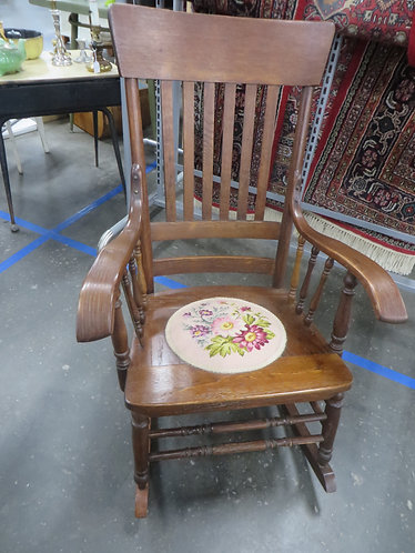 Antique Rocking Chair with Embroidered Seat Insert