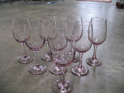 Vintage Purple Glass Rose Wine Stems Set of 8