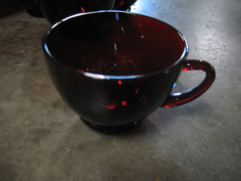 Vintage Anchor Hocking Ruby Red Glass Teacup