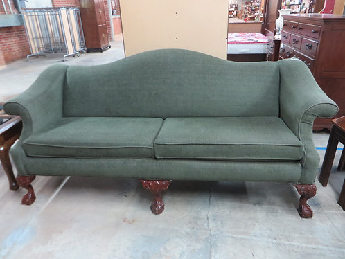 Bassett Furniture Camelback Green Tweed Couch