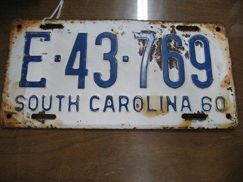 1960 South Carolina Automobile License Plate