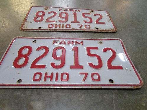 1970 Ohio Farm 829152 Matched Pair License Plates Car Tags
