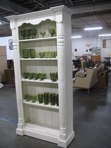 Vintage Cottage Pine Chalk Painted Four Shelf Column Bookcase